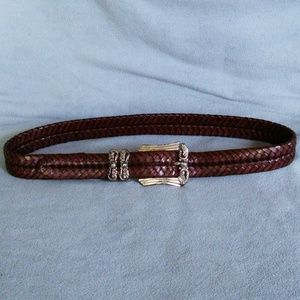 Brighton woven brown leather belt